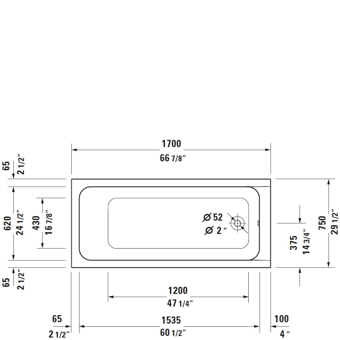 D D-Code BI Bath 1700x750mm_Stiles_TechDrawing_Image