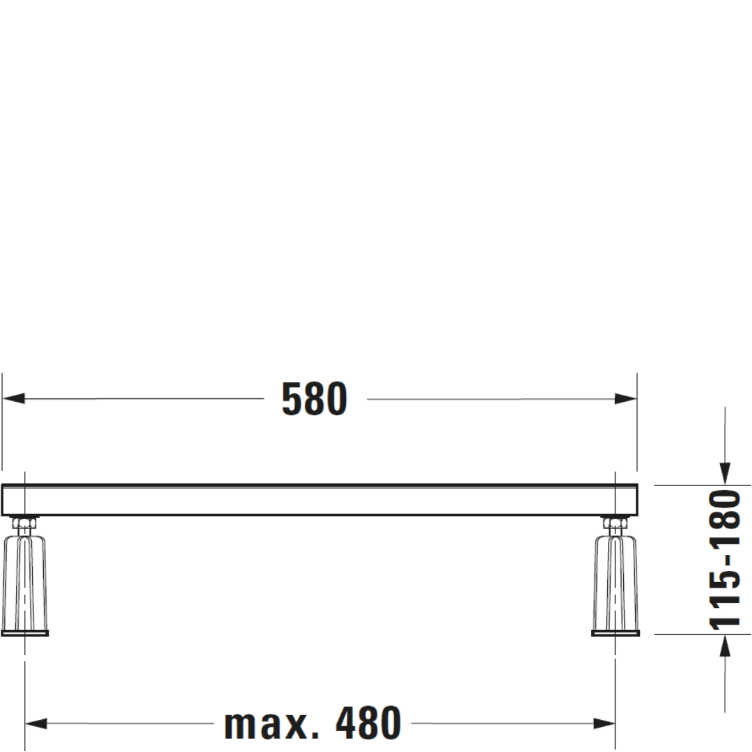 D D-Code support frame for plus bath 1000mm_Stiles_TechDrawing_Image2