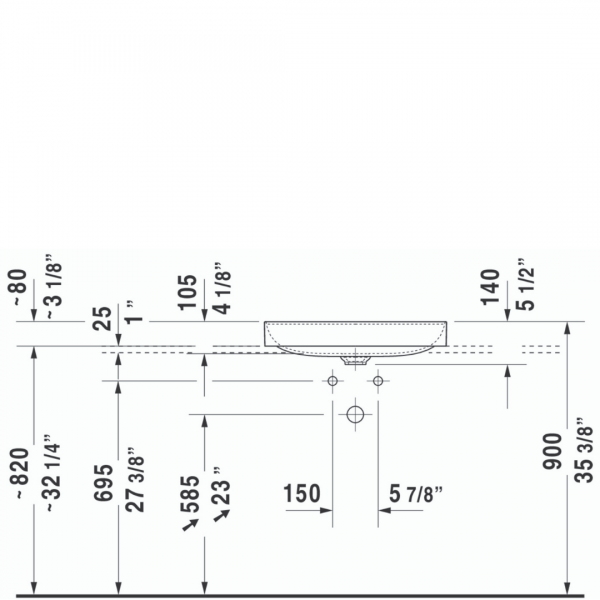D DuraSquare Grounded Counter Top Basin 600x345mm_Stiles_TechDrawing_Image