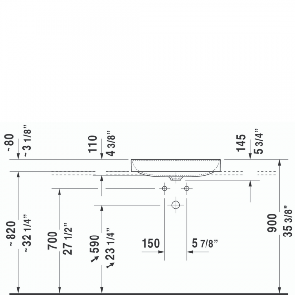 D DuraSquare Grounded Counter Top Basin 600x470mm_Stiles_TechDrawing_Image