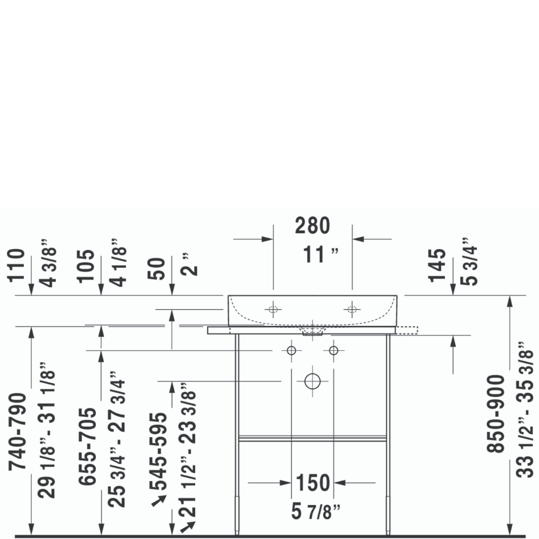 D DuraSquare Matt Black Metal Console 665x451mm_Stiles_TechDrawing_Image