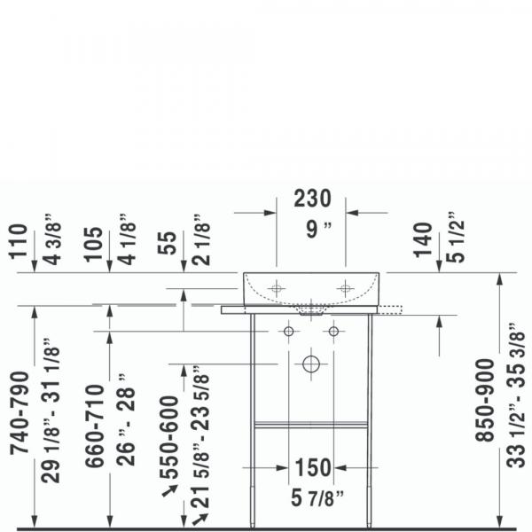 D DuraSquare WM Basin 450x350mm_Stiles_TechDrawing_Image