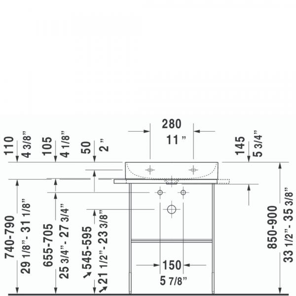 D DuraSquare WM Basin 600x470mm_Stiles_TechDrawing_Image
