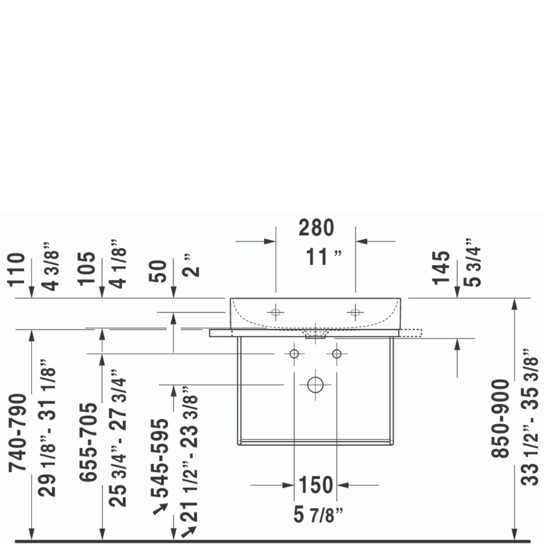 D DuraSquare WM Basin 600x470mm_Stiles_TechDrawing_Image2