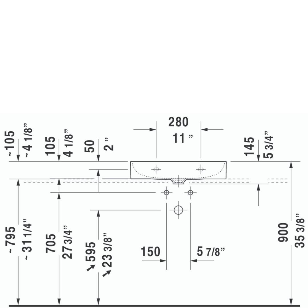 D DuraSquare WM Basin 600x470mm_Stiles_TechDrawing_Image4