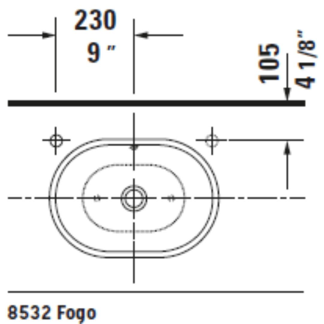 D Foster Counter Top Basin 495x350mm_Stiles_TechDrawing_Image11