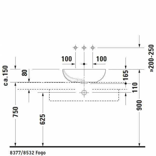D Foster Counter Top Basin 495x350mm_Stiles_TechDrawing_Image2