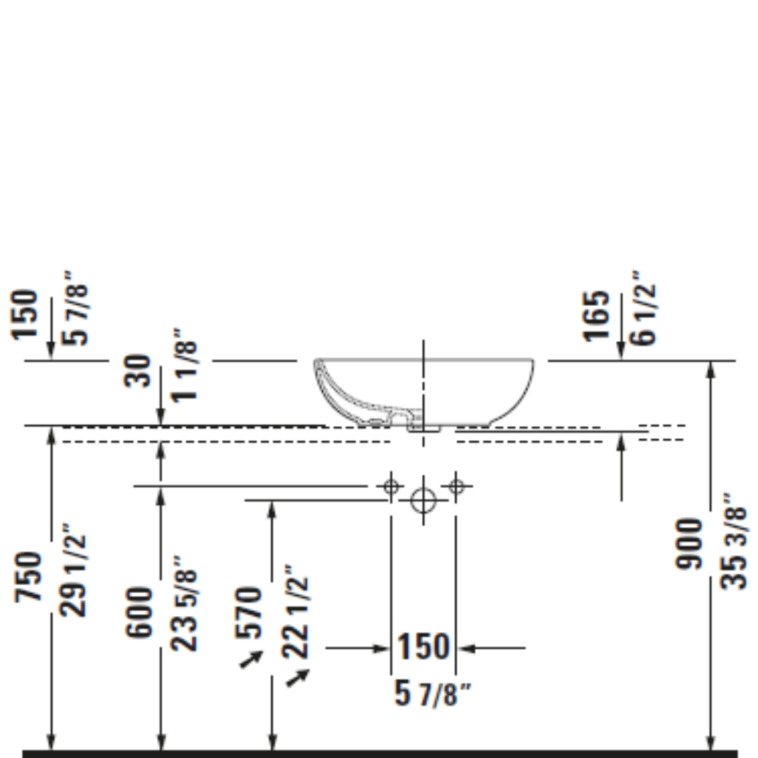 D Foster Counter Top Basin 495x350mm_Stiles_TechDrawing_Image5