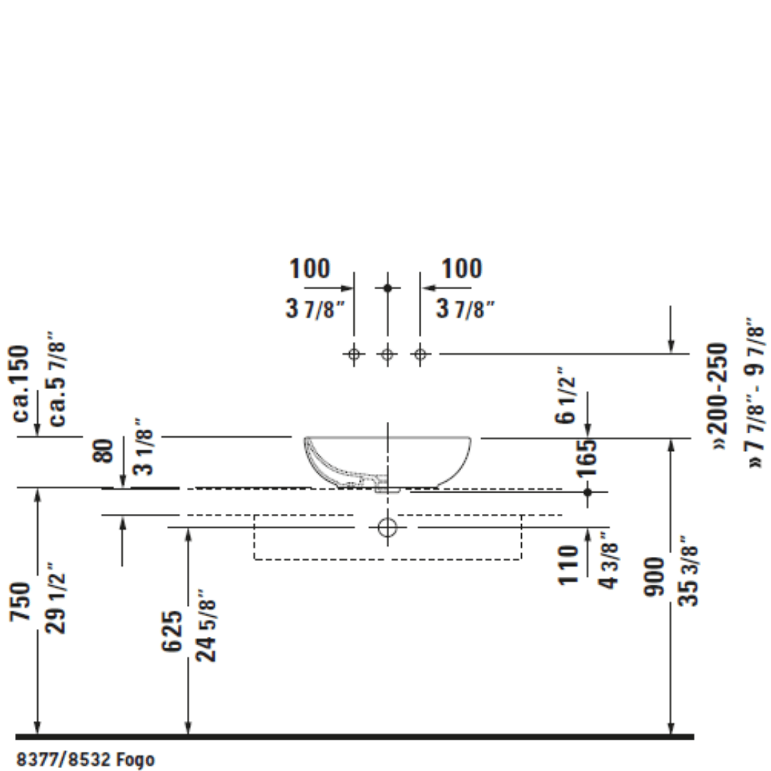 D Foster Counter Top Basin 495x350mm_Stiles_TechDrawing_Image6