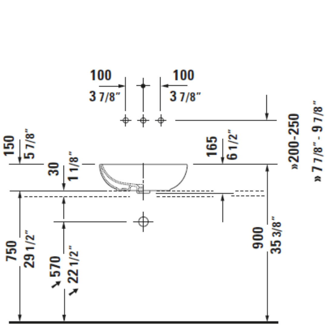 D Foster Counter Top Basin 495x350mm_Stiles_TechDrawing_Image7