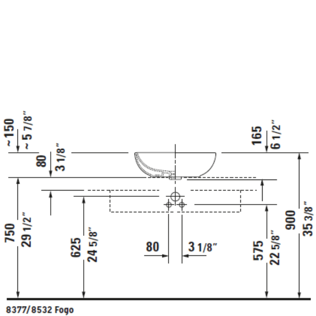 D Foster Counter Top Basin 495x350mm_Stiles_TechDrawing_Image8