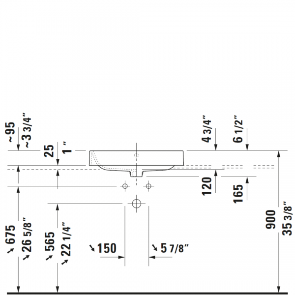 D Happy D2 Grounded Counter Top Basin 600x400mm_Stiles_TechDrawing_Image