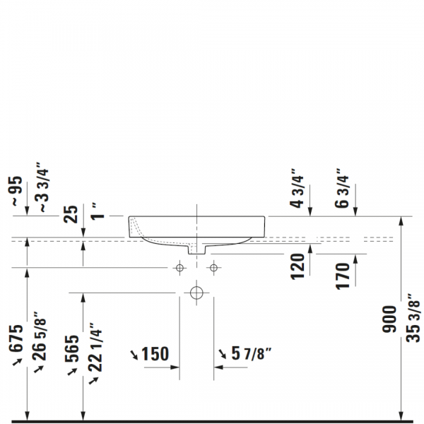D Happy D2 Grounded Counter Top Basin 600x460mm_Stiles_TechDrawing_Image