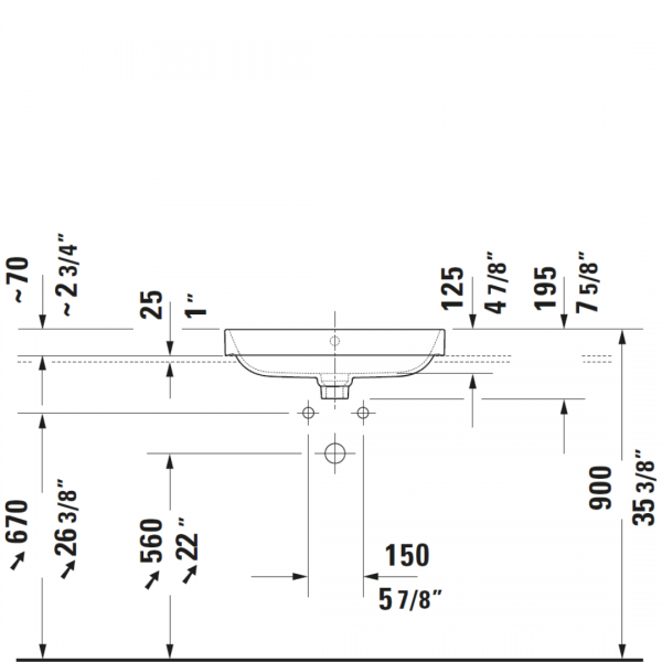 D Happy D2 Plus Grounded Matt Black Basin 600x460mm_Stiles_TechDrawing_Image