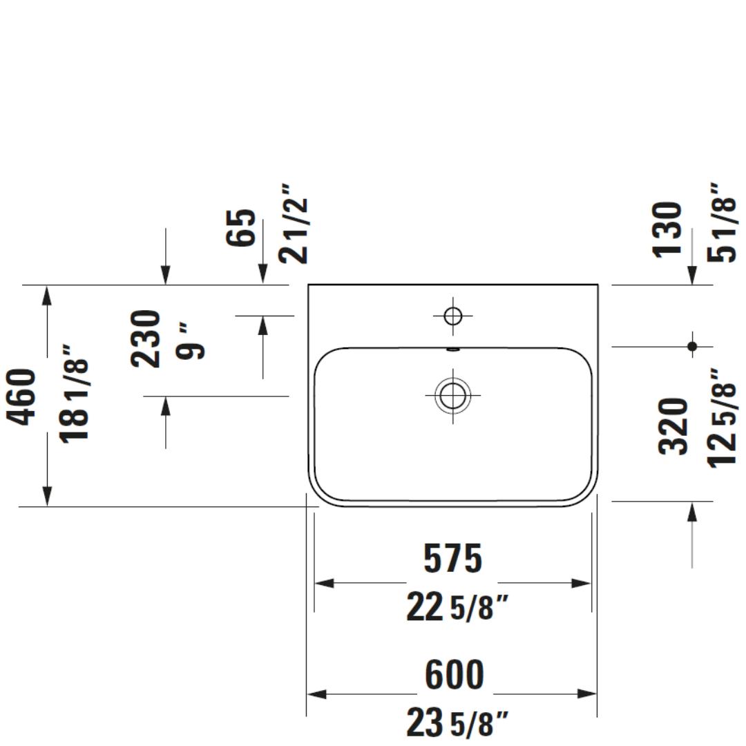D Happy D2 Plus Grounded Matt Black Basin 600x460mm_Stiles_TechDrawing_Image2