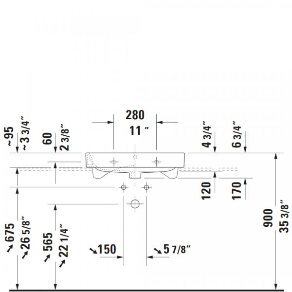 D Happy D2 WM Basin 650x505mm_Stiles_TechDrawing_Image