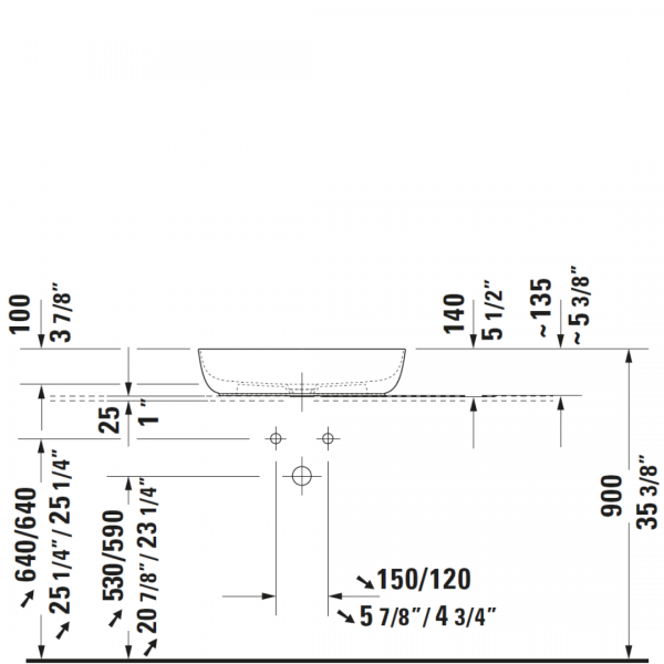 D Luv Counter Top Basin 600x400mm_Stiles_TechDrawing_Image