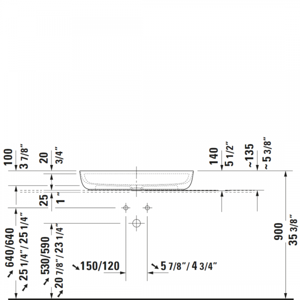 D Luv Counter Top Basin 800x400mm_Stiles_TechDrawing_Image