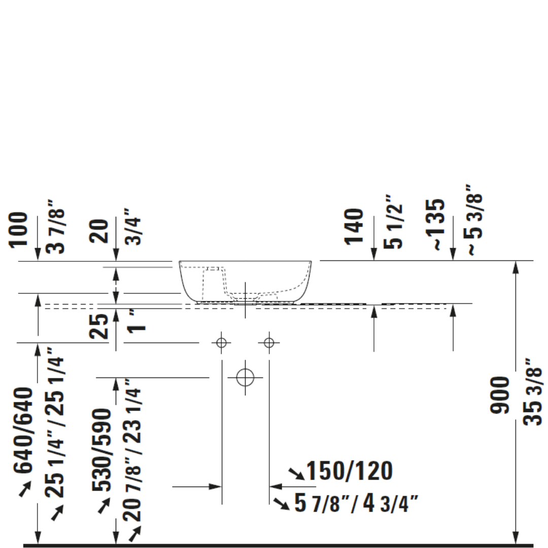 D Luv Ground Counter Top Basin 420x270mm_Stiles_TechDrawing_Image