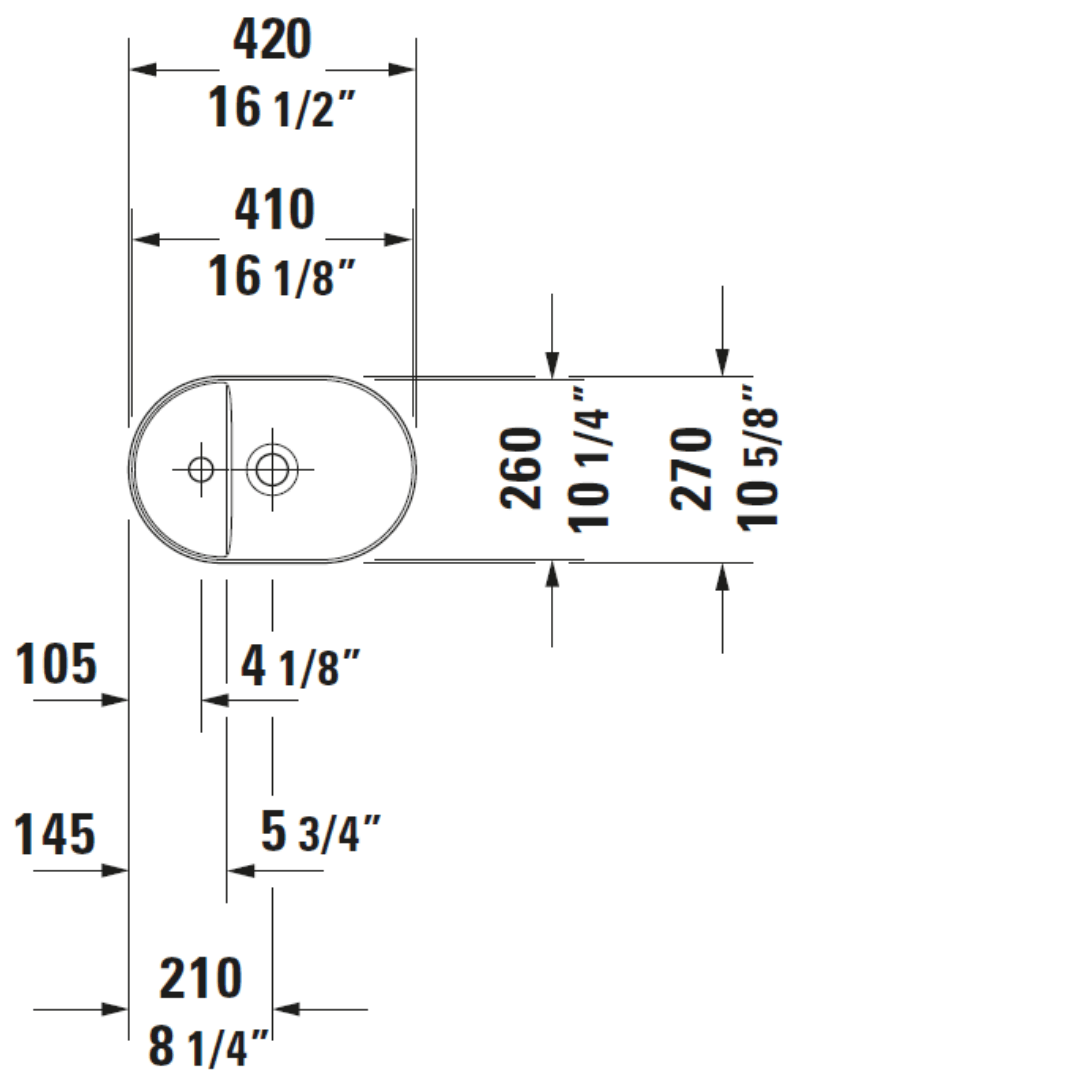 D Luv Ground Counter Top Basin 420x270mm_Stiles_TechDrawing_Image2