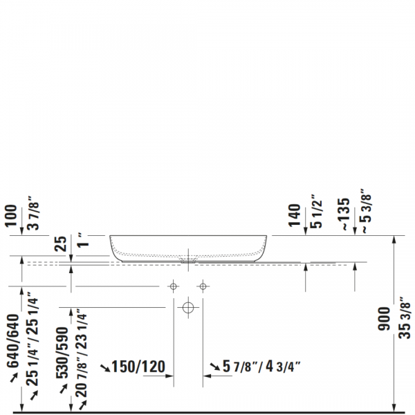 D Luv White Counter Top Basin No TH 800x400mm_Stiles_TechDrawing_Image