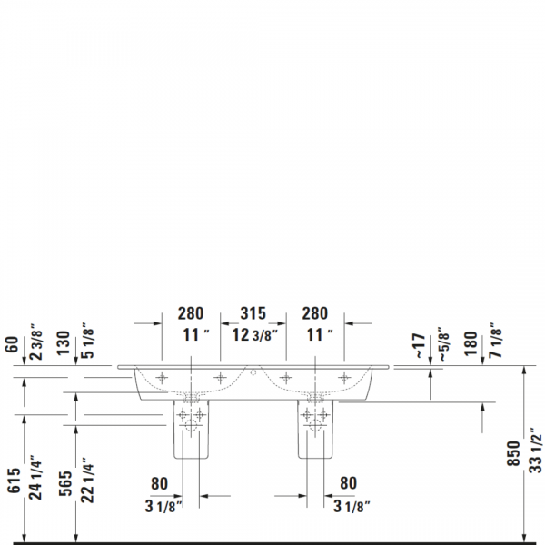 D ME by Starck Double Basin 1300x490mm_Stiles_TechDrawing_Image