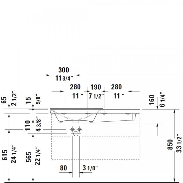 D P3 Comforts Asymmetric Basin 1050x500mm_Stiles_TechDrawing_Image