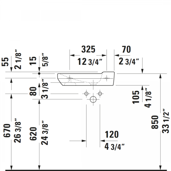D P3 Comforts Basin 500x260mm_Stiles_TechDrawing_Image