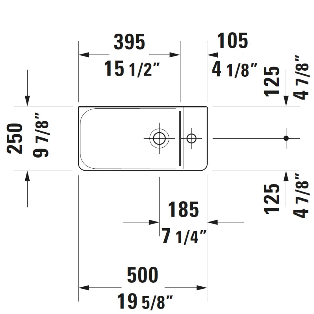 D P3 Comforts Basin 500x260mm_Stiles_TechDrawing_Image2