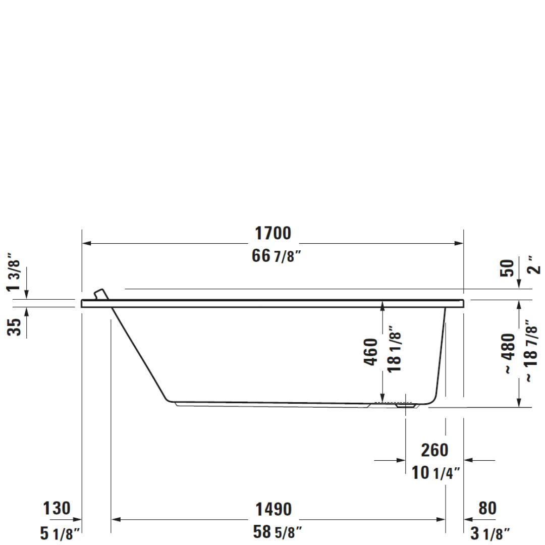 D Starck 3 BI Bath 1700x750mm_Stiles_TechDrawing_Image