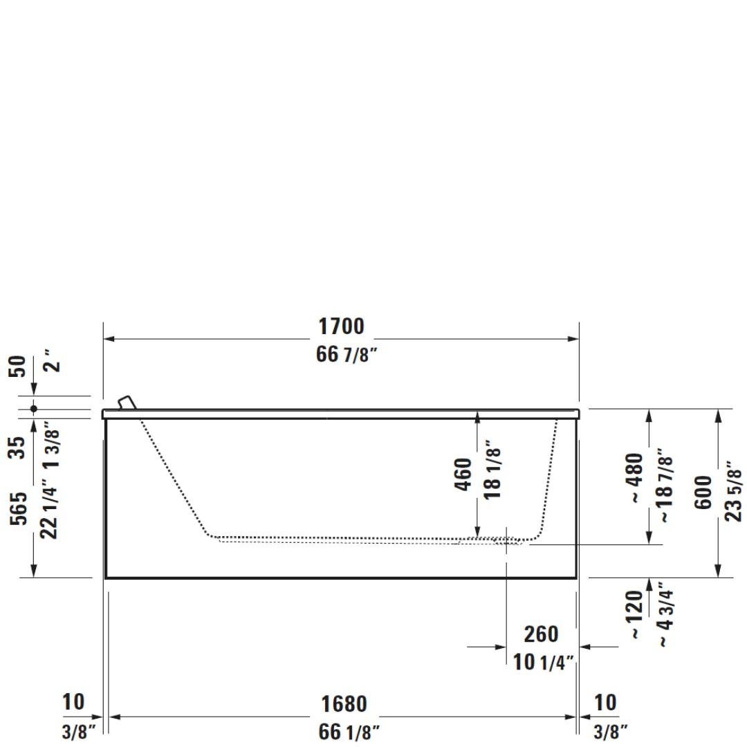 D Starck 3 BI Bath 1700x750mm_Stiles_TechDrawing_Image2