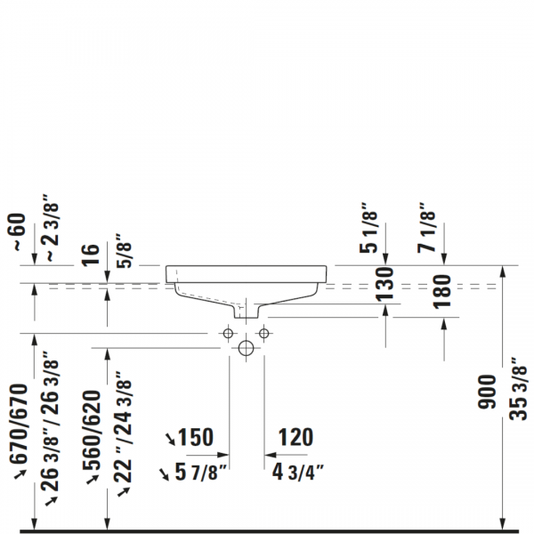 D Vero Drop-in Basin 550x465mm_Stiles_TechDrawing_Image