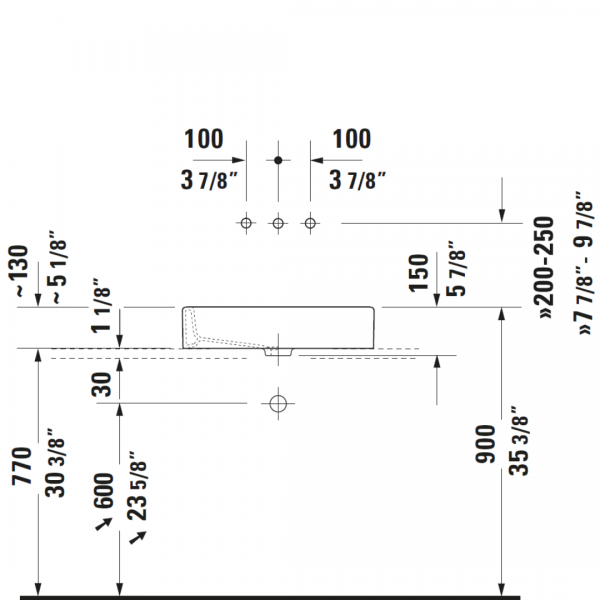 D Vero Grounded CT Basin 600x380mm_Stiles_TechDrawing_Image