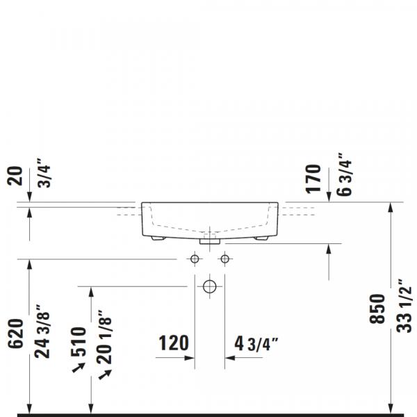 D Vero Semi-recessed Basin 550x470mm_Stiles_TechDrawing_Image