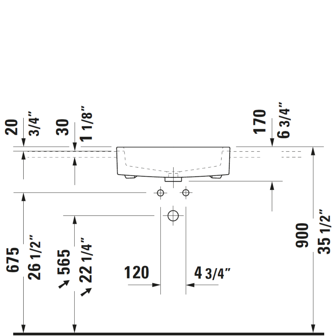 D Vero Semi-recessed Basin 550x470mm_Stiles_TechDrawing_Image2