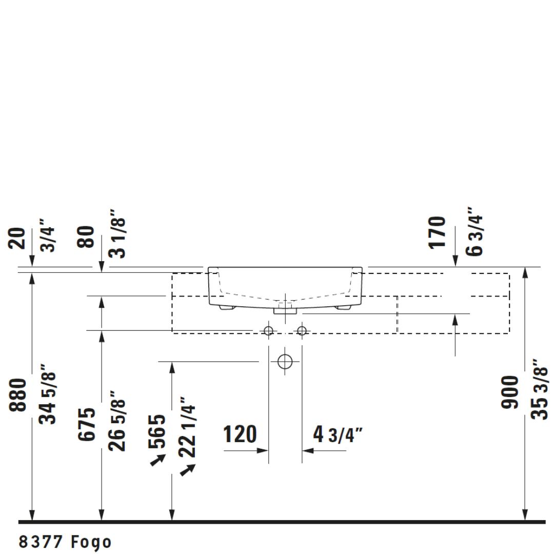 D Vero Semi-recessed Basin 550x470mm_Stiles_TechDrawing_Image3