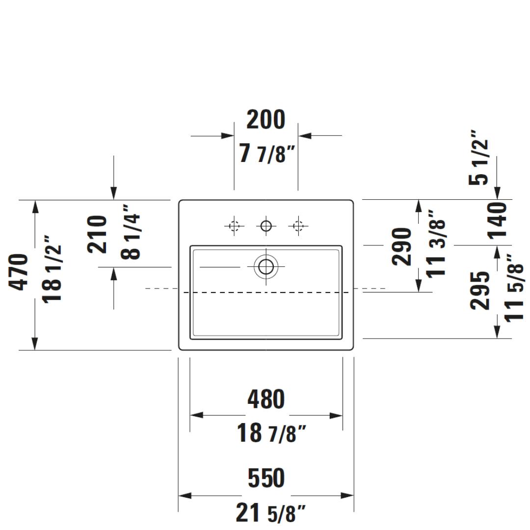D Vero Semi-recessed Basin 550x470mm_Stiles_TechDrawing_Image4