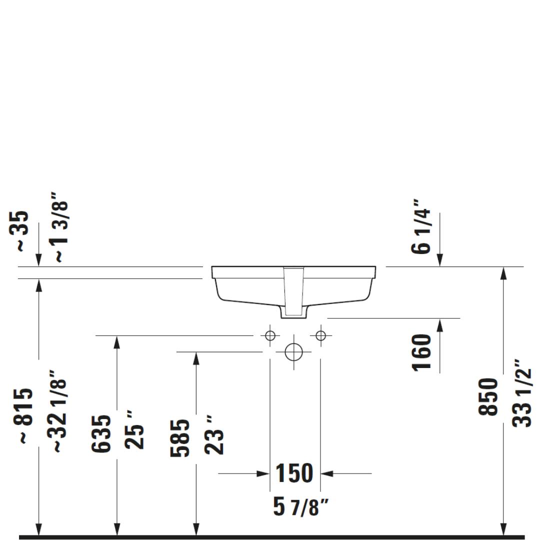 D Vero Undercounter Basin 485x315mm_Stiles_TechDrawing_Image2