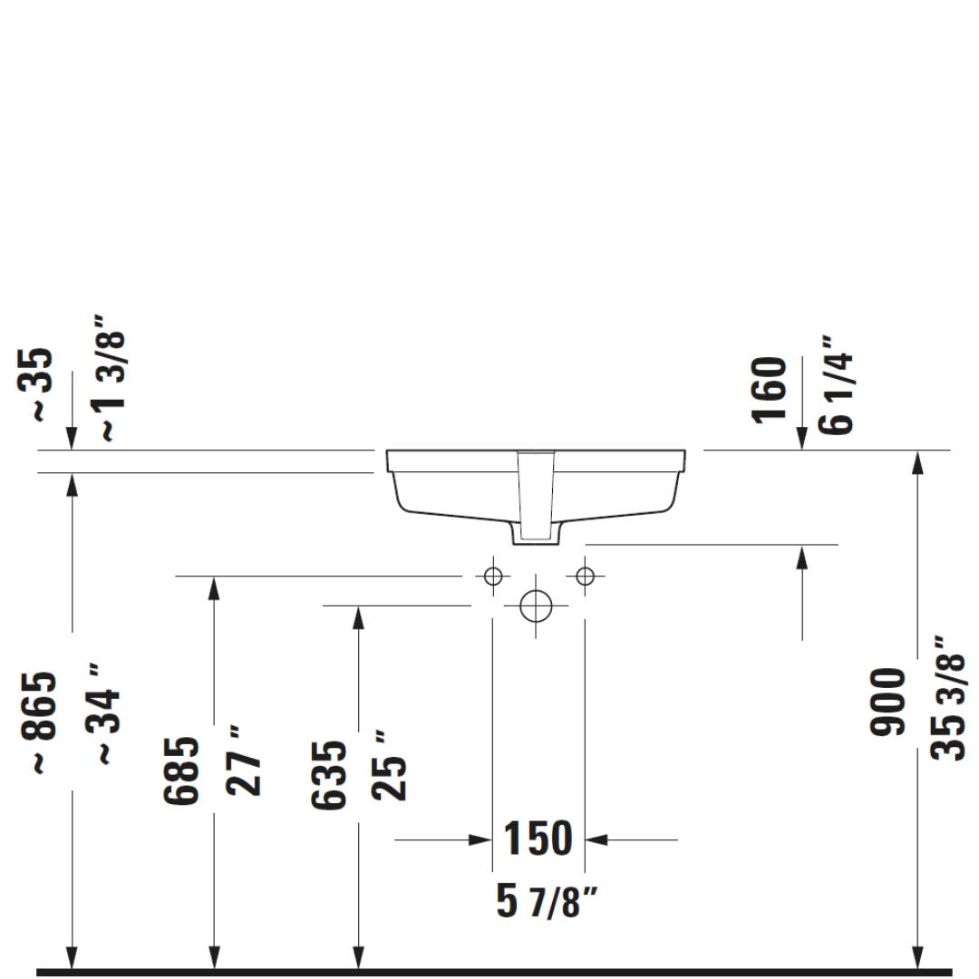 D Vero Undercounter Basin 485x315mm_Stiles_TechDrawing_Image3