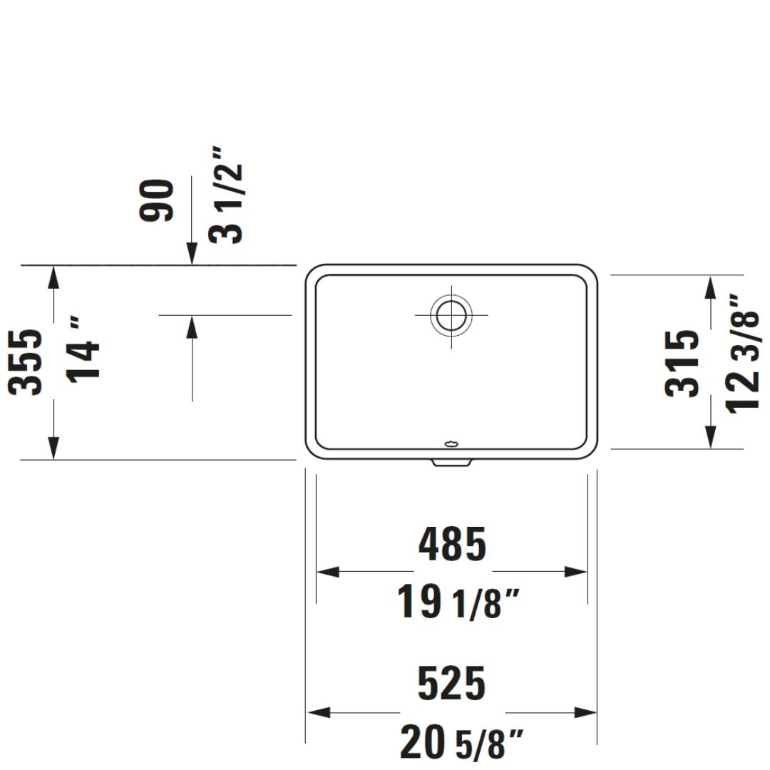 D Vero Undercounter Basin 485x315mm_Stiles_TechDrawing_Image5