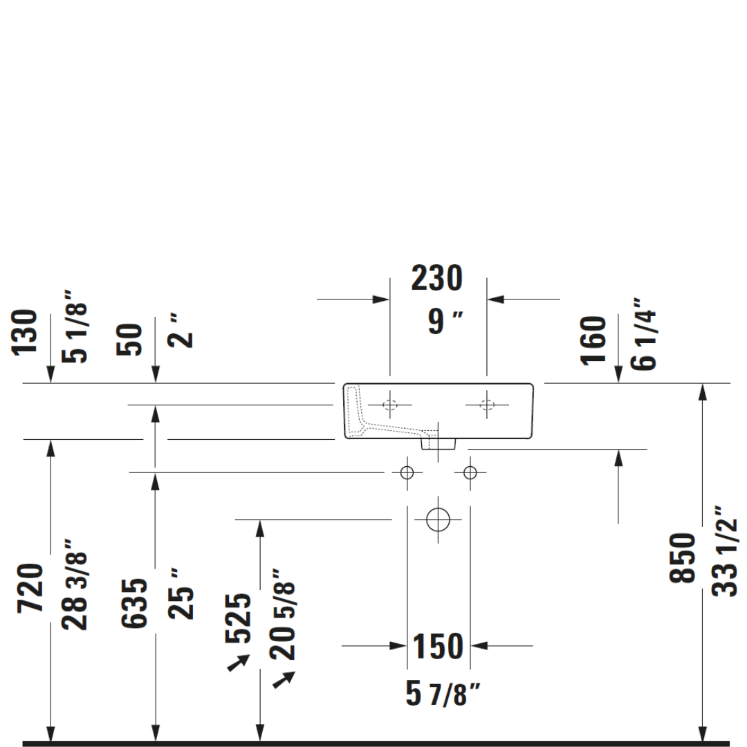 D Vero WM Basin 450x350mm_Stiles_TechDrawing_Image