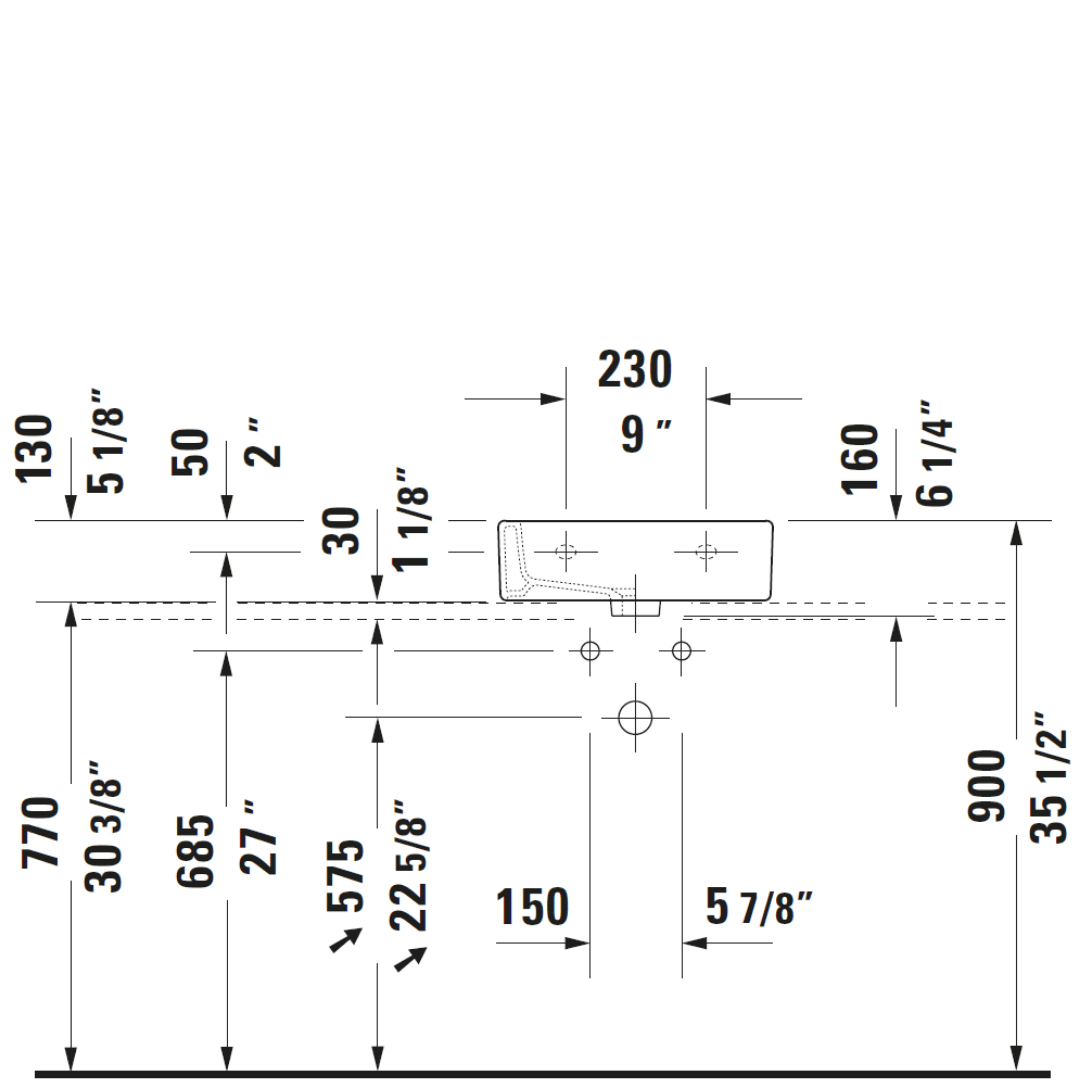 D Vero WM Basin 450x350mm_Stiles_TechDrawing_Image2