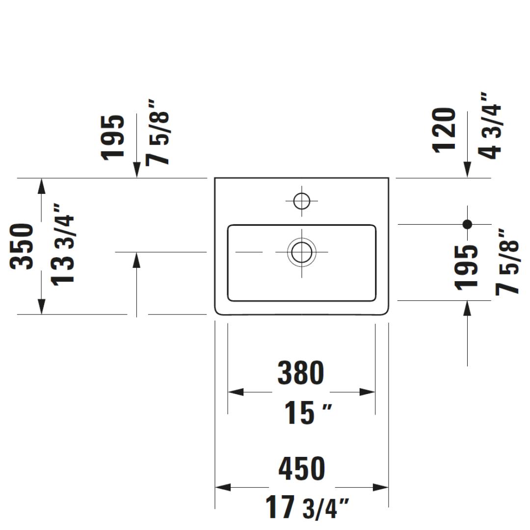 D Vero WM Basin 450x350mm_Stiles_TechDrawing_Image3