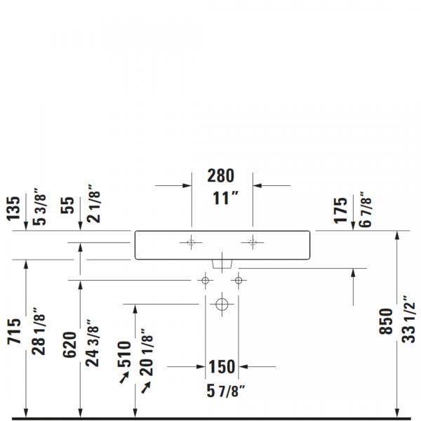 D Vero WM Basin 800x470mm_Stiles_TechDrawing_Image