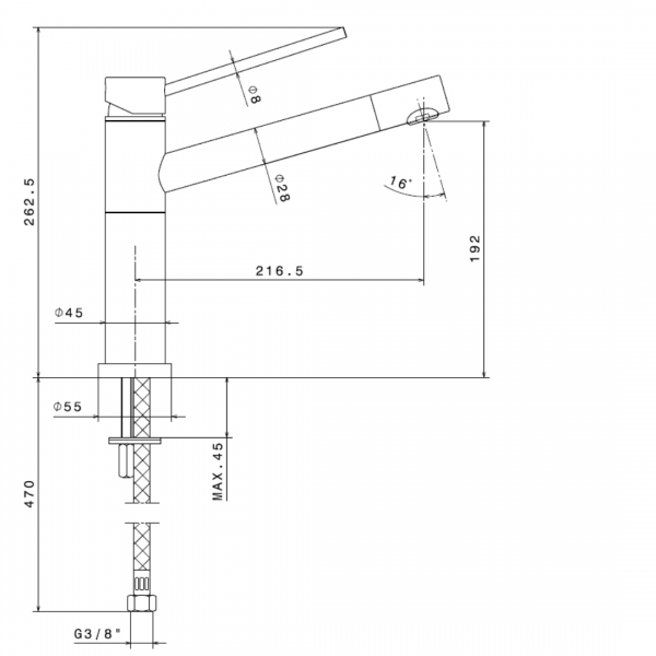 2400.2 Newform Xtreme Sink Mixer_Stiles_TechDrawing_Image