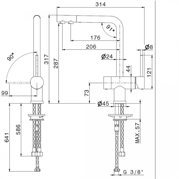 3101.2 Newform Moony Sink Mixer with Purifier_Stiles_TechDrawing_Image