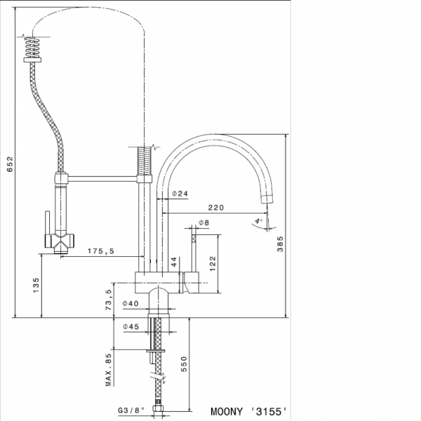 3155.2 Newform Moony Sink Mixer 2 spout jets_Stiles_TechDrawing_Image