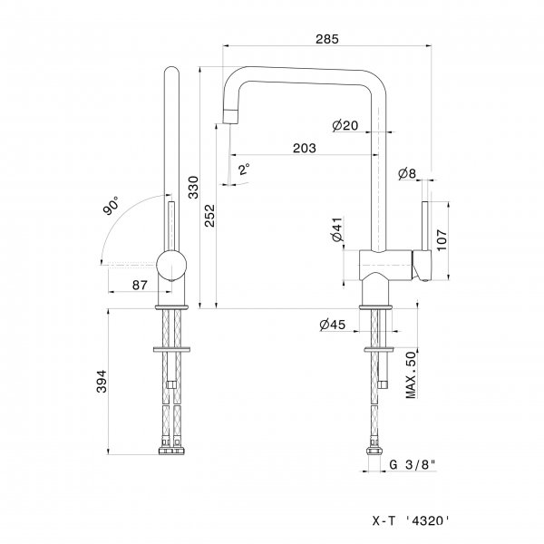 4320.2 Newform XT Square Kitchen Mixer (with swivel spout)_Stiles_TechDrawing_Image