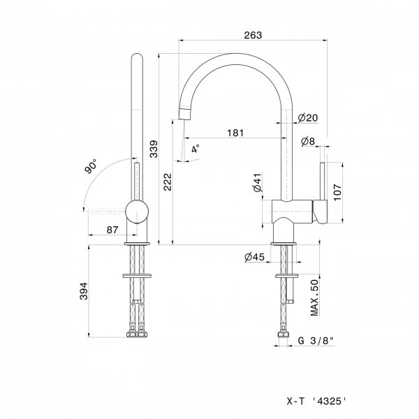 4325.2 Newfrom XT Kitchen Mixer_Stiles_TechDrawing