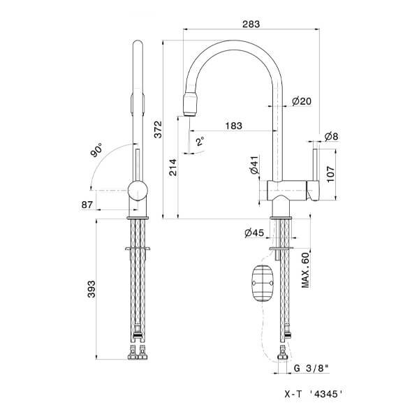 4345 Newform XT Sink Mixer (with pull out spout)_Stiles_TechDrawing_Image